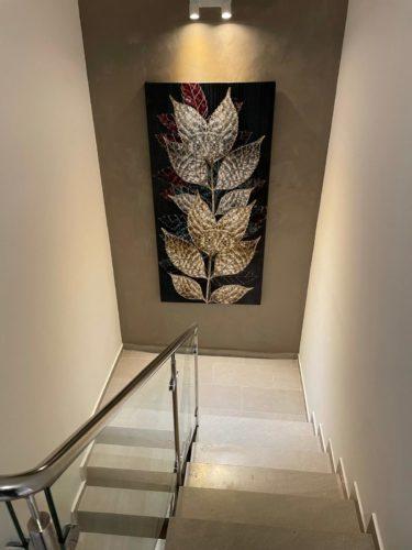 תמונות קנבס לסלון בגווני ירוק זהב 'אבסטרקט עלים' דגם 3776274 photo review