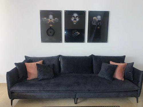 שלוש אפריקאיות לתלייה בסלון - סט תמונות זכוכית דגם 443232 photo review